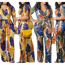 AYES Plus Size Set Women Pants Clothes Club Outfits Summer Suit For Women Multi-Colored Leaf Pattern Printed Pants Sets Vetement
