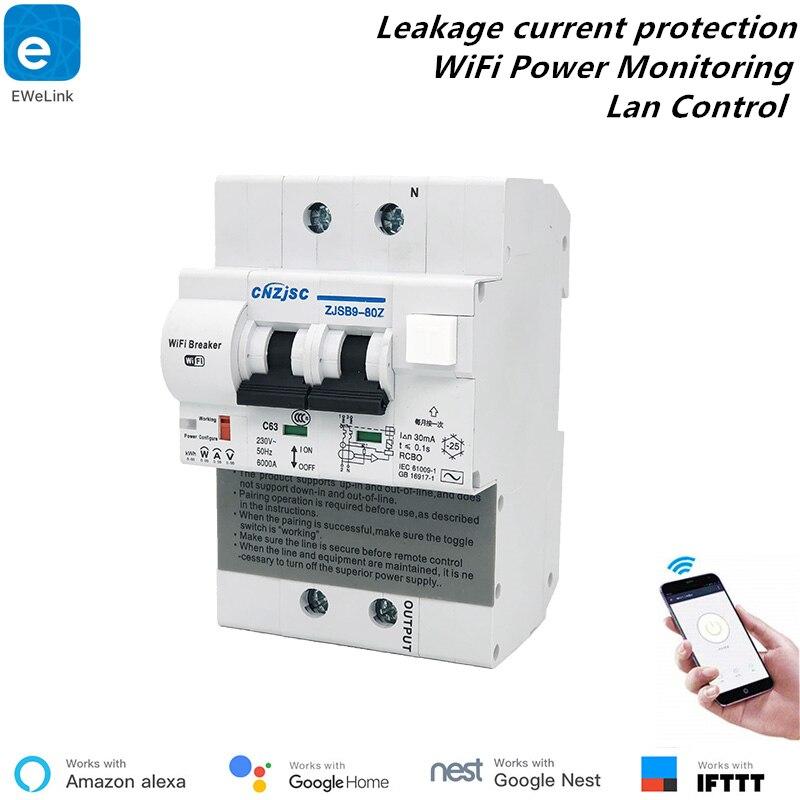 EWelink RCBO 2P WiFi disjoncteur surveillance de puissance raccourci Protection contre les fuites disjoncteur intelligent Alexa contrôle Lan Compatible
