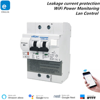 EWelink RCBO 2P WiFi Circuit Breaker Power Monitoring Shortcut Leakage Protection Smart Breaker Alexa Compatible Lan Control
