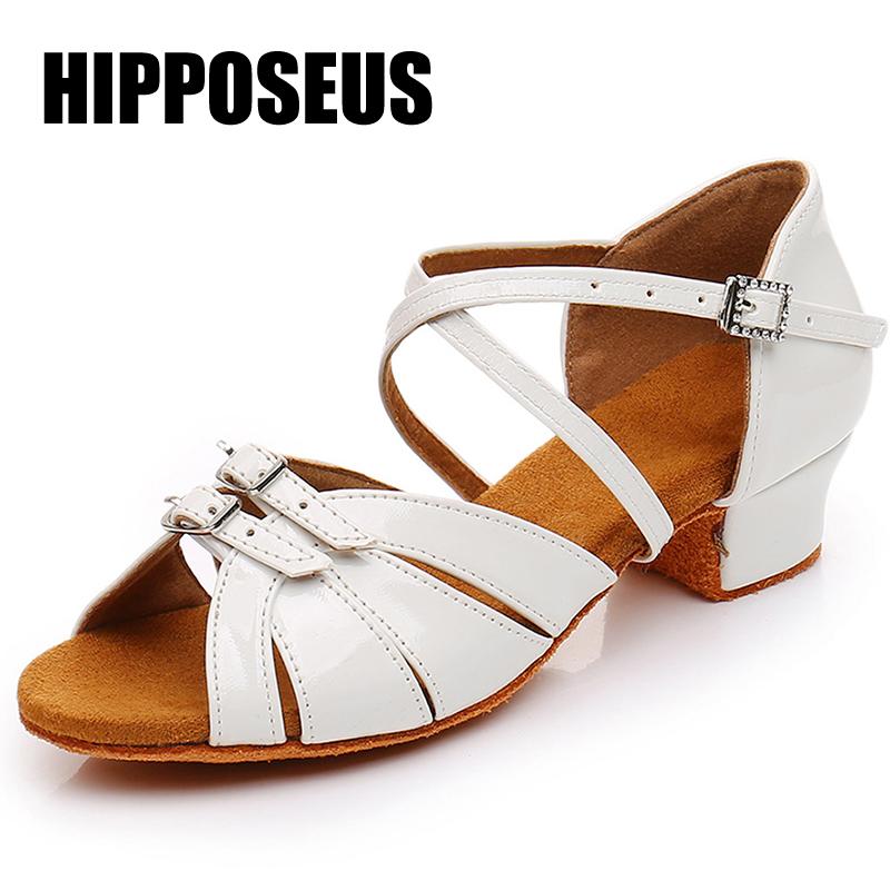Women Tango Dance Shoes Girls Latin Modern Ballroom Shoes Pu/Satin Soft Bottom Dancing Shoes Children Kids Low Heel Dance Shoes