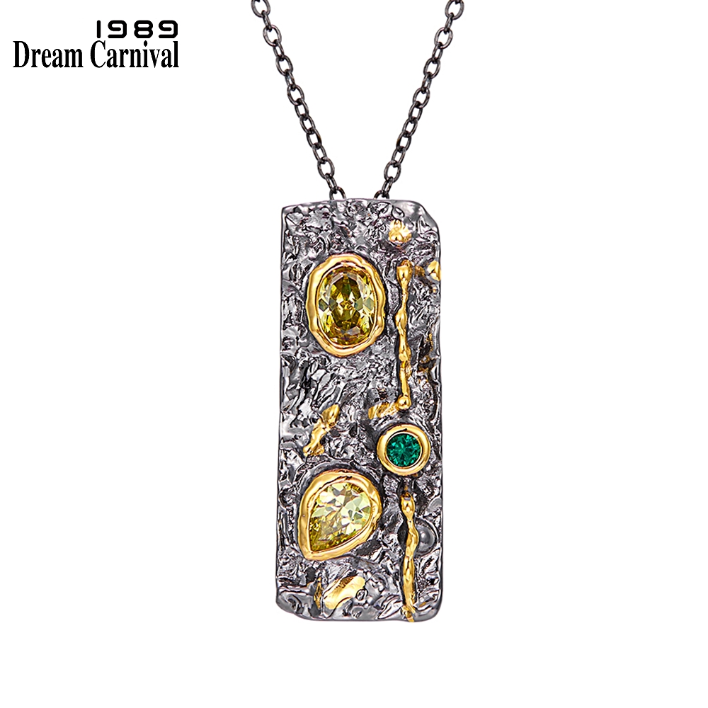 DreamCarnival1989 Gothic Pendant Necklace Women Stone Age Collection Strong Character Black Gold Color Olivine Green CZ WP6671(China)