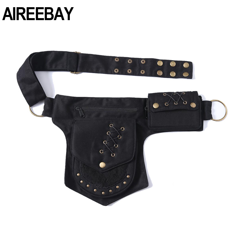 AIREEBAY Women Vintage Fanny Pack Tactical Multifunctional Photography Waist Bags For Men New Hip-hop Bohemian Style Leg Bag
