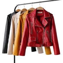 2020 corta de piel chaqueta de manga larga de las mujeres Punk remache locomotora cinturón amarillo rojo 4 colores de cuero cazadora motera de PU abrigo