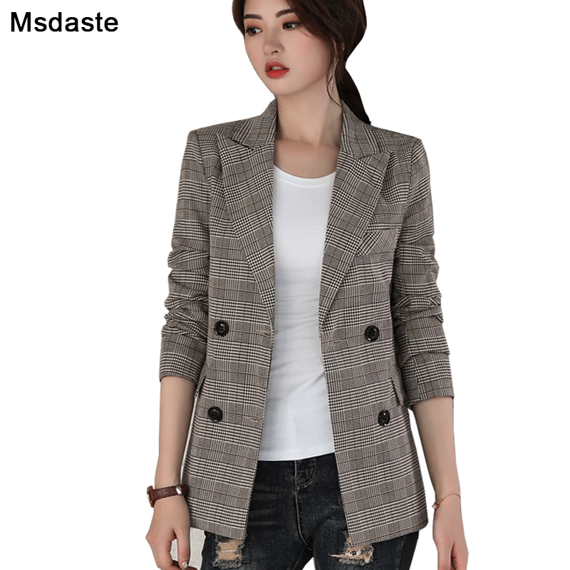 Women Blazers And Jackets 2019 Autumn Casual Double Breasted Female Blaser Plus Size S~3XL Vintage Woman Plaid Blazer Coats