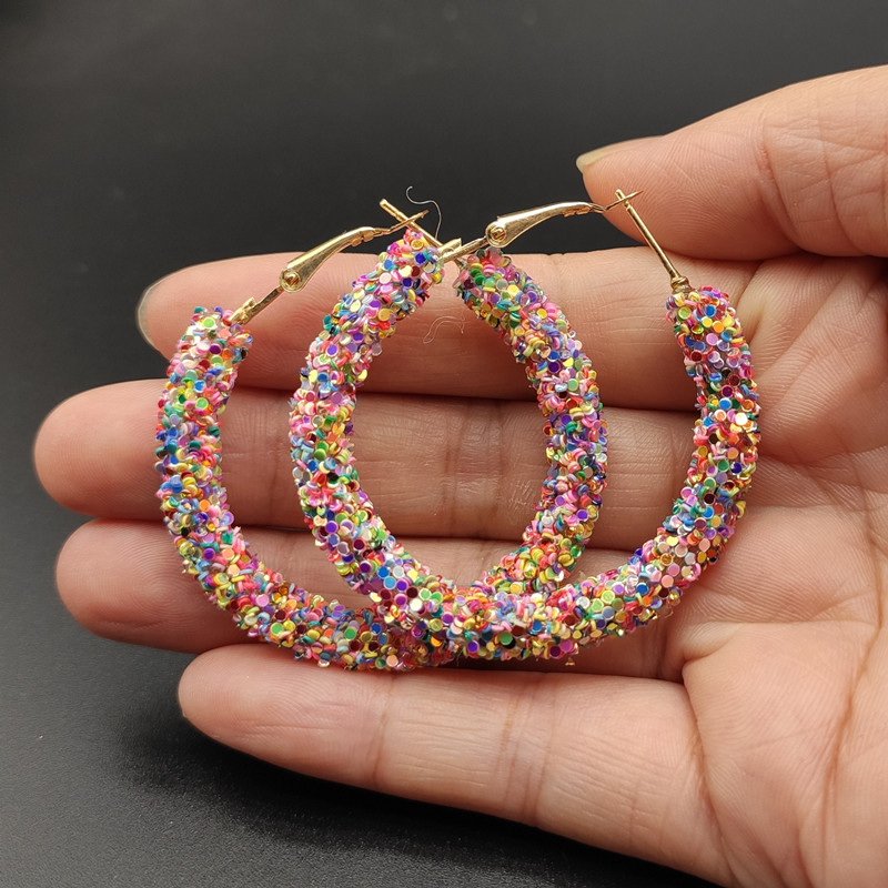 New Hot Selling Colorful Hoop Earrings For Women Girl  Statement Ear Jewelry Round Circle Christmas Gift Jewelry