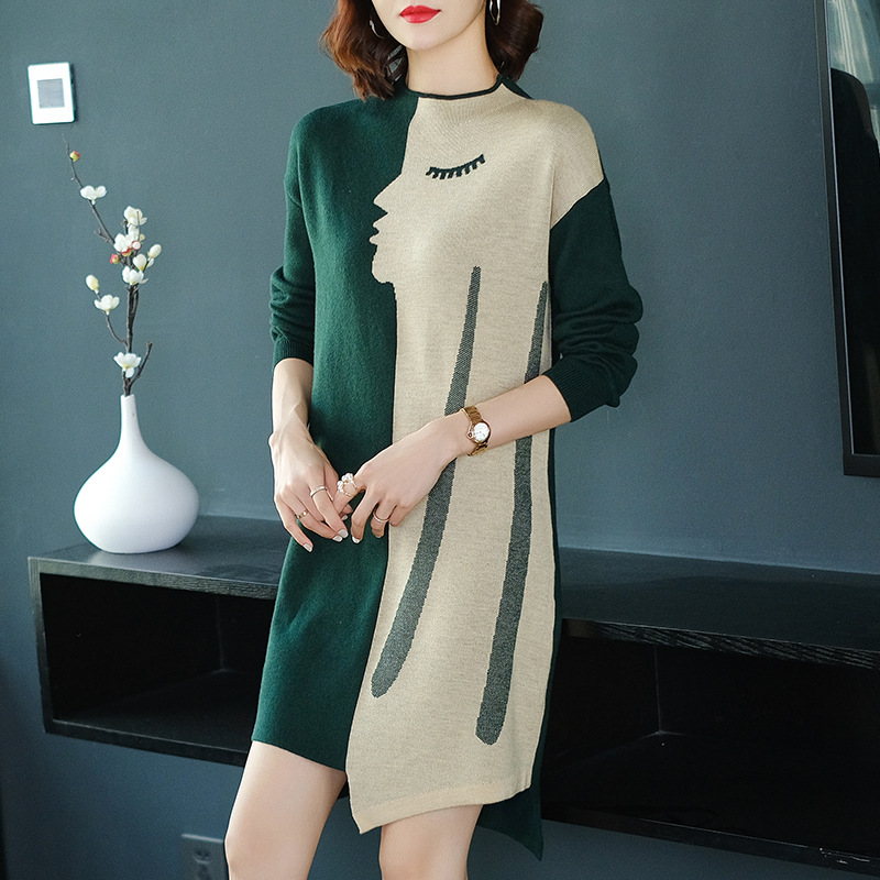 Half-Turtle-Neck Mid-length Sweater Women's Pullover Autumn & Winter Korean-style Irregular Loose-Fit Long Sleeve Knit Base Dres