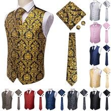 Hi-Tie мужской костюм жилет Шелковый жилет Тонкий Галстук Пейсли запонки платок формальный жилет Золотой/красный/черный для смокинга бизнес