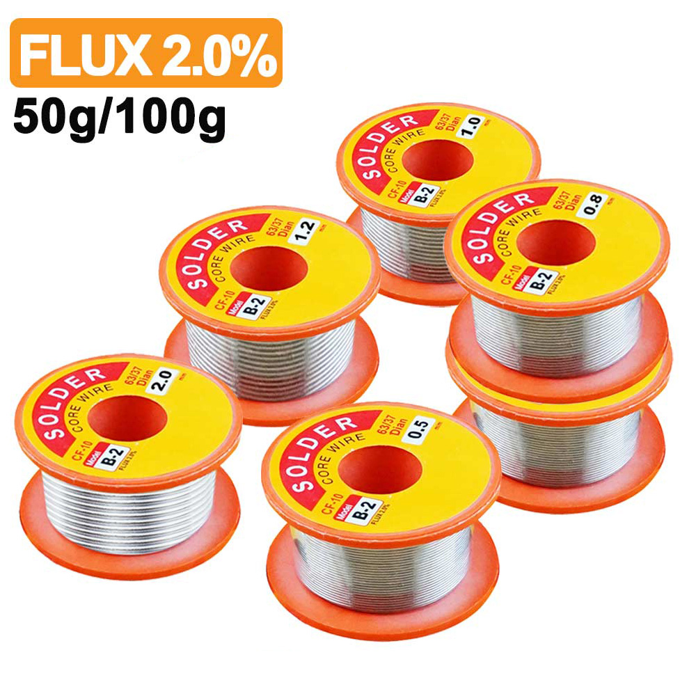 0.5/0.6/0.8/1/1.2/2mm fluxo 2.0% 45ft lata chumbo estanho fio fusão rosin núcleo solda fio de solda rolo não-limpo 50g e 100g