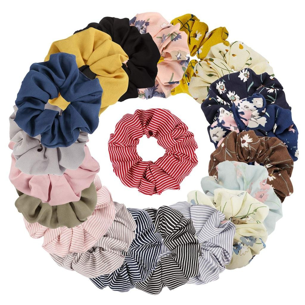20 Pack Hair Scrunchies Elastic Ponytail Holder Suede Fashion Hair Ties