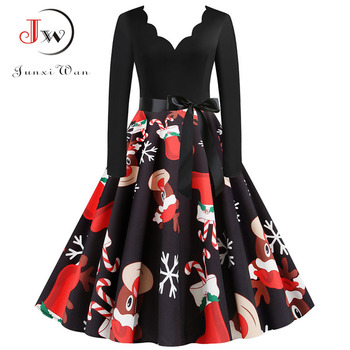 Women Vintage Long Sleeve Christmas Dress Winter Plus Size Swing Elegant Lacework Party Dress Robe Casual Black Print New Year 5