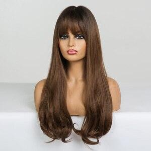 Image 4 - ALAN EATON длинные волнистые синтетические парики с челкой для черных женщин афро американские Омбре черные коричневые Косплей Жаростойкие волосы