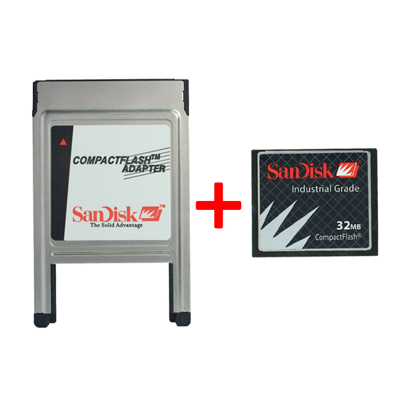 SanDisk CF 32M Industrial Grade Memory Card CNC Machine Tool Processing CF Card With PCMCIA Adapter Memory Card For Car MP3