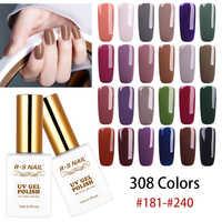 Rs verniz do gel do prego 308 cores escala esmalte semi permanente profissional unha arte manicure uv led gel laca 15ml