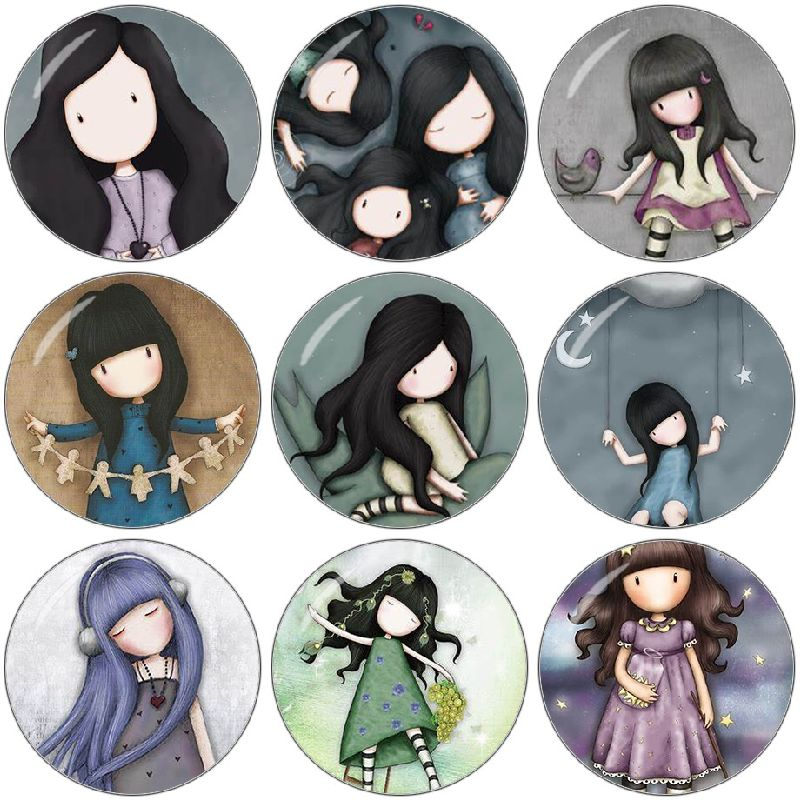 Findings Picture Cabochon Round Glass Flat-Back-Making Cartoon Girl Demo 20mm/25mm 10pcs/Lot