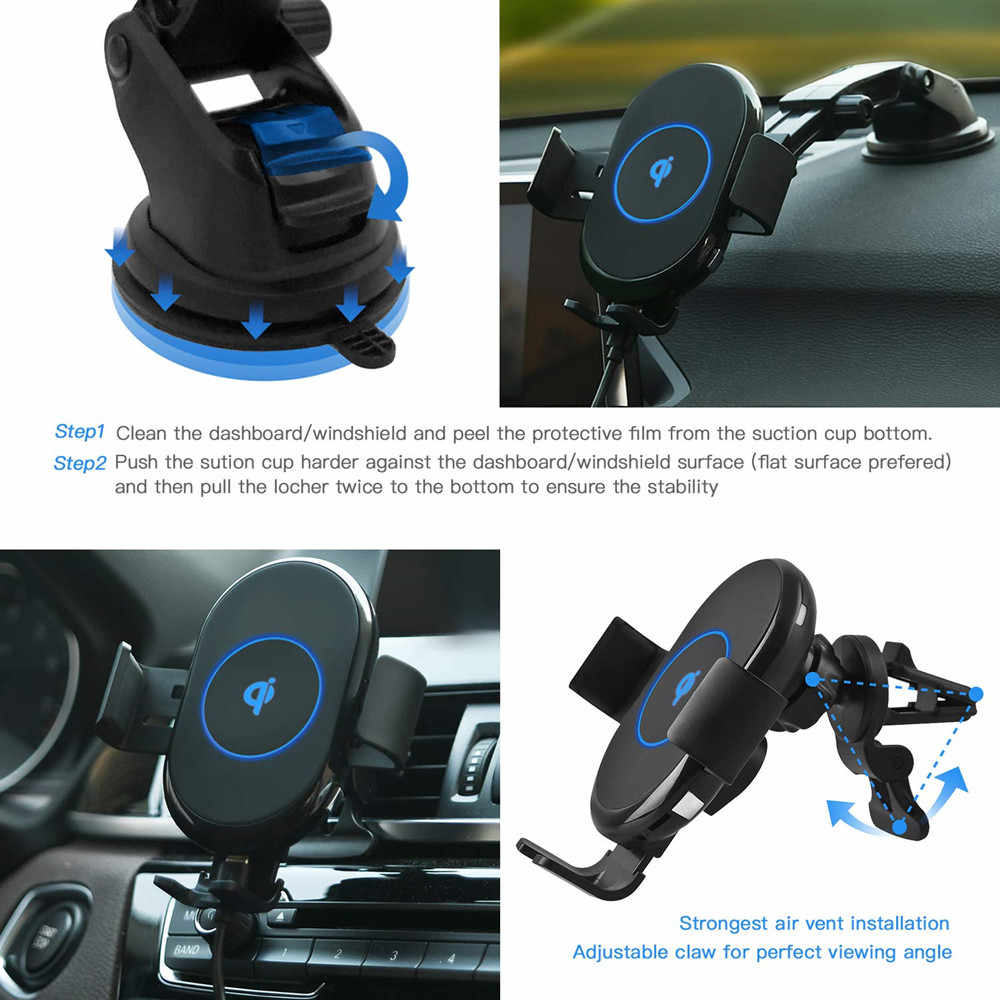 2019 new Car Wireless Charger Car 360 Rotation Auto Clamping Loose Fast Charging Phone Charger For iPhone X for Xiaomi Mi 9 IY16