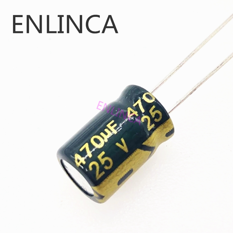10 шт./лот T10 25 в 470 мкФ низкий ЭПС/сопротивление высокочастотный алюминиевый электролитический конденсатор Размер 8*12 470UF25V 20%