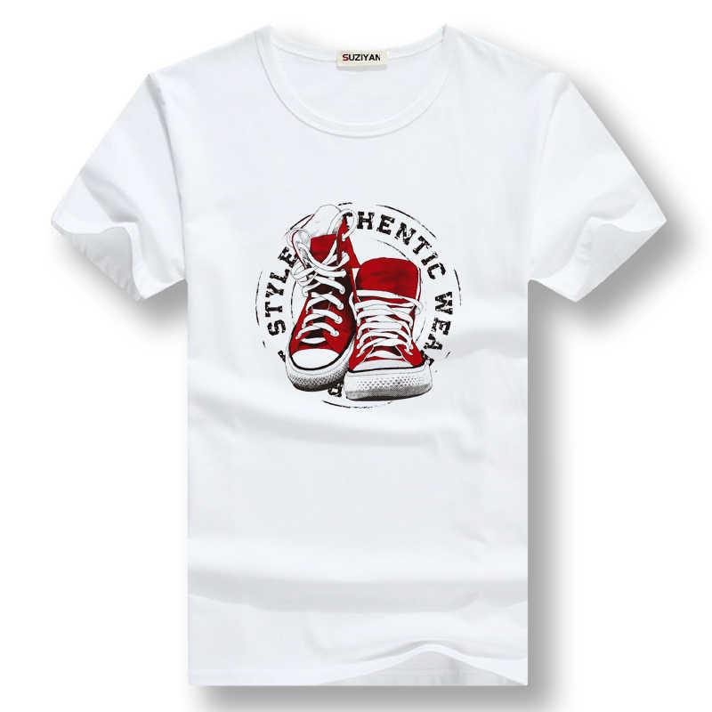 Fresco di estate t-shirt per gli uomini di scarpe-modello stampato manica corta top tee di grandi dimensioni casuale di studenti di sesso maschile del tutto-fiammifero camicie bianche