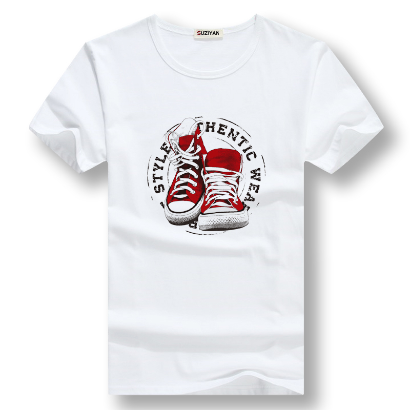Cool Summer T-shirts For Men Shoes-pattern Printed Short-sleeve Tops Tee Casual Large Size Male Students All-match White Shirts
