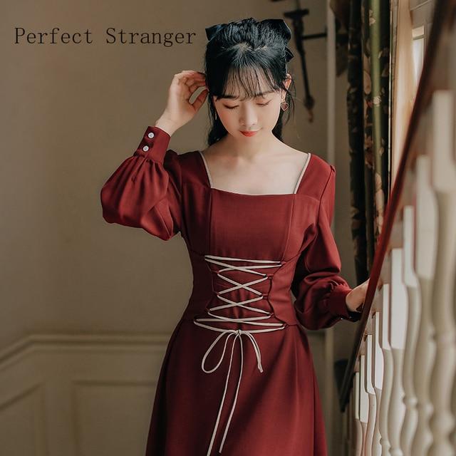 2020 Autumn New Arrival High Quality Retro Square Collar Bandage Long Sleeve Women Long Dress 4
