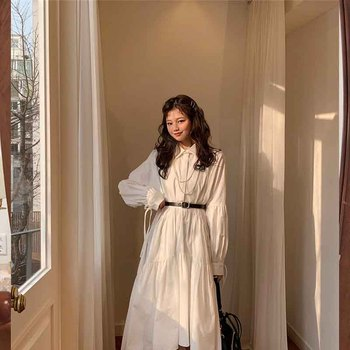 New Women Dress Long Sleeve Spring Autumn Vintage Lantern Sleeve Dress Lapel Collar Button Up Ruched Ruffles Loose White Dresses spring autumn women chiffon print dress long sleeve vintage bow collar floral dresses female causal thick ruffles pleated dress