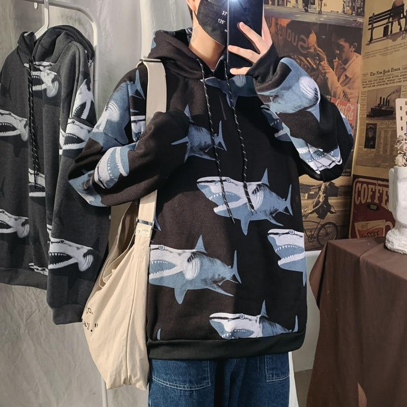 Hooded plus velvet printed Shark Hoodies Pullover men's spring autumn 2020 hip hop Streetwear Male's sweatshirt loose top coat