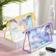 Color Laser Zip Lock Plastic Bags Cosmetic Bag Waterproof PVC Transparant Travel Organizer Toiletry Lady Makeup Case pencil case