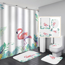Digital Printing Waterproof Flamingo Series Bathroom Shower Curtain Graphic Customization Bathroom Shower Curtain Cartoon novelty 3d end of the world digital printing shower curtain for bathroom