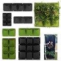 2/4/9 Карманы Вертикальный садовый Гоу сумки завод стене висит горшки для посадки растений, зеленого и черного цвета для выращивания ящик для ...
