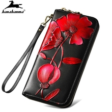 Genuine Leather Wallet Women Clutch 3D Flower Walle