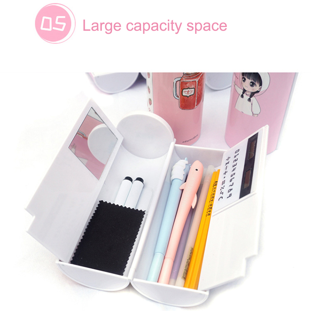 Pencil Box Multifunctional With Mirror Calculator Large Capacity Pencil Cases For Boys Girls School Stationery
