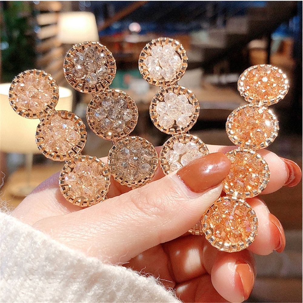 New  Fashion Korea Crystal Rhinestones Hair Clips Girls Hairpins Geometric Round Hair Grip Women Barrette Hair Accessories