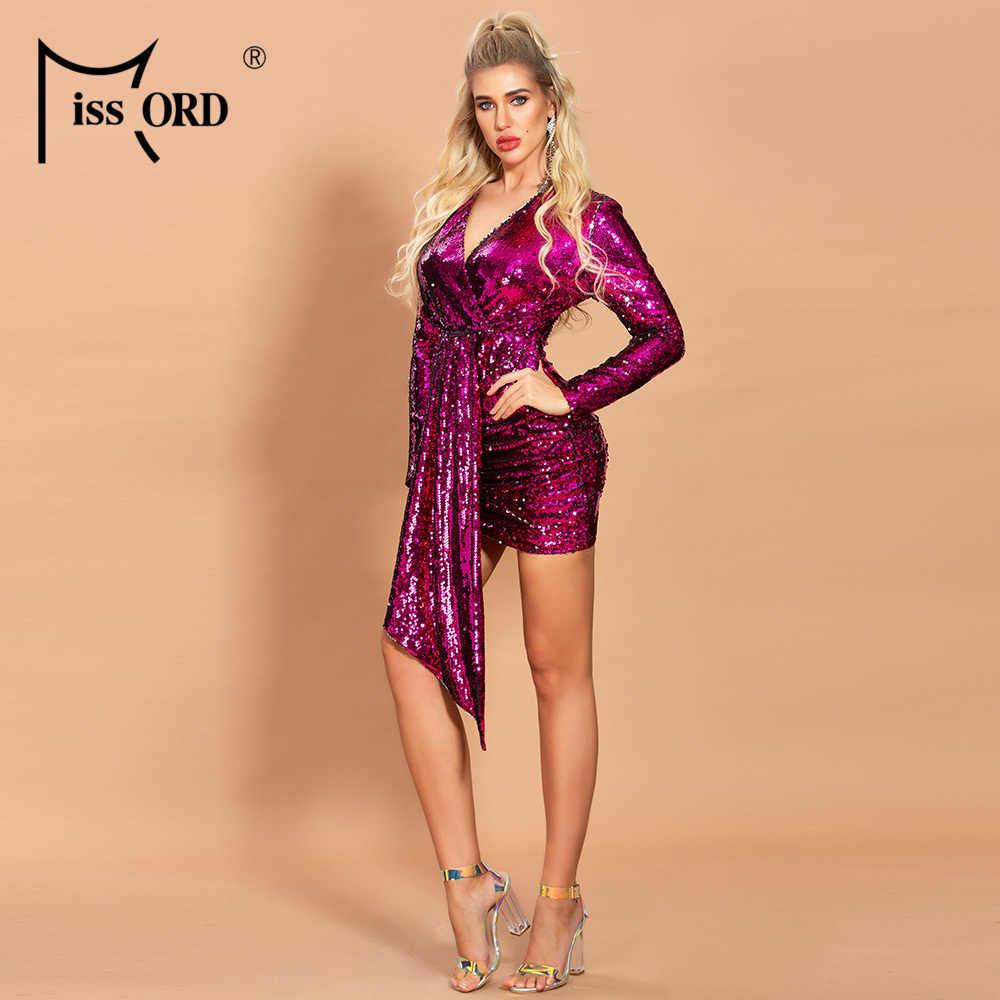 Missord 2020 Vrouwen Sexy V-hals Sequin Jurken Vrouwelijke Lange Mouw Mini Elegante Bodycon Jurk FT19886