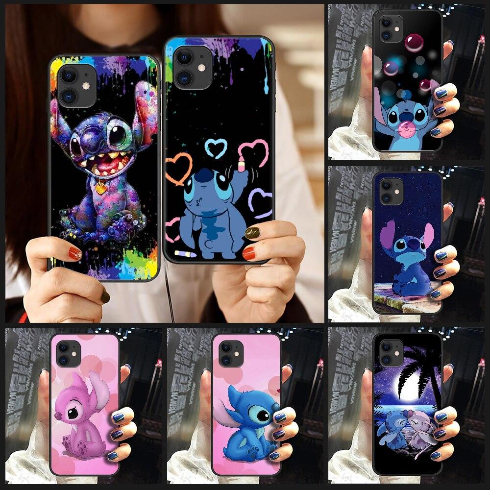 Cartoon cute Stitch Phone Case Cover Hull For iphone 5 5s se 2 6 6s 7 8 plus X XS XR 11 PRO MAX black hoesjes tpu Etui soft