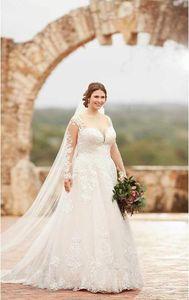 Image 2 - Suknia ślubna zasznurować z powrotem z 60cm długi pociąg suknia ślubna szata de mariee suknia ślubna vestido de noiva