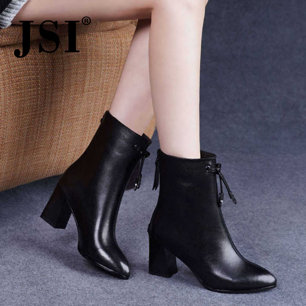 JSI Winter Boots Women Pointed Toe Zip Square Heel High Heel Ladies Shoes Microfiber Ankle Solid Sewing Handmade Women Boots JD3