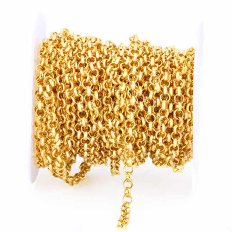 5 m/grup 2mm 2.5mm Rolo Zincirleri Toplu Kolye Bulguları Altın Gümüş Renk Metal Demir Açık Bağlantı Zincirleri Lot takı aksesuarları için