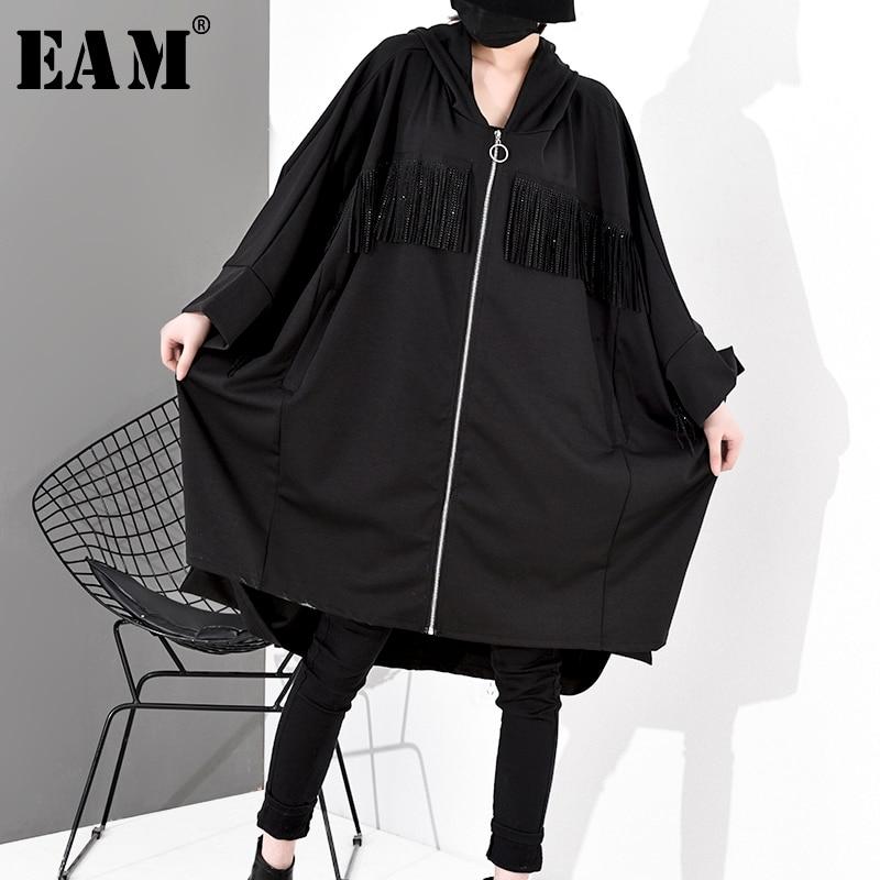 [EAM] Loose Fit Black Tassels Split Joint Big Size Jacket New Hooded Long Sleeve Women Coat Fashion Tide Spring 2020 1S532