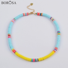 BOROSA 10PCS Handcrafted Colorful Necklace Polymer Clay Beads Fimo Slices Rainbow Plastic Thin Disc Choker Jewelry HD0089 borosa 10pcs rainbow handmade bracelets polymer clay beads fimo slices plastic thin disc elastic string bracelet jewelry hd0090