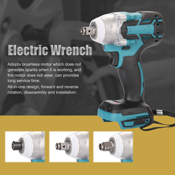 388VF 18V Cordless Electric Wrench Screw Driver Brushless Motor Wrench Rechargeable Socket Wrench Power Tool Without Battery