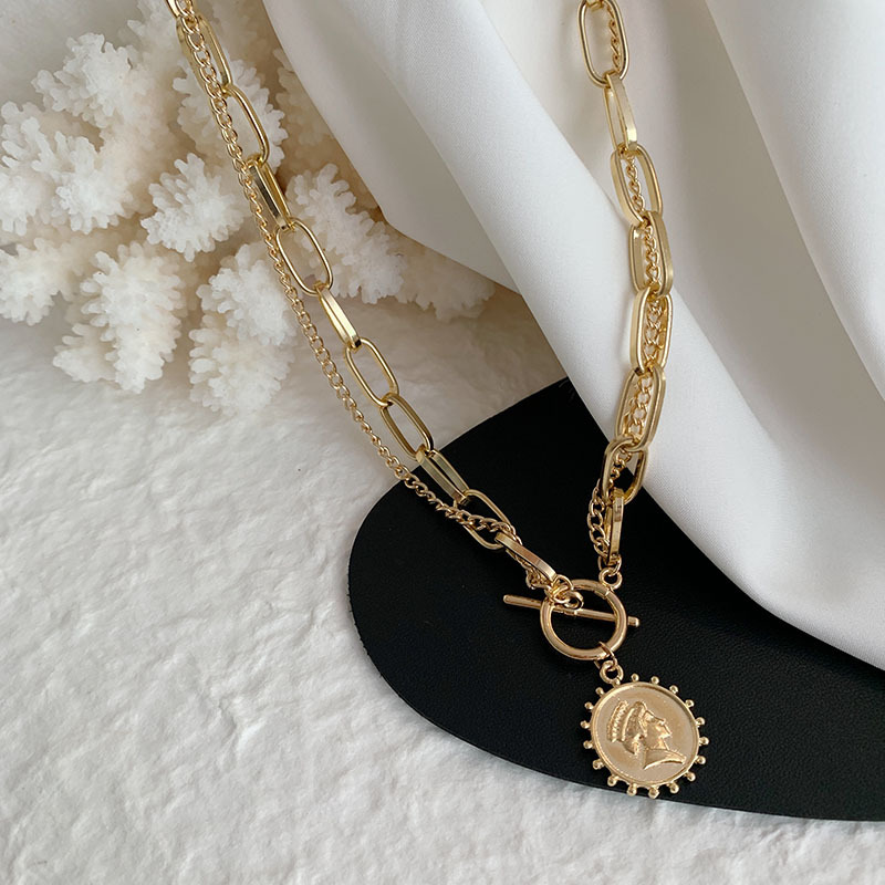 New Vintage Beauty Head Necklace Multi Chains Chokers Necklaces for Women Coin Pendant Necklace Gold Necklace Fashion Jewelry