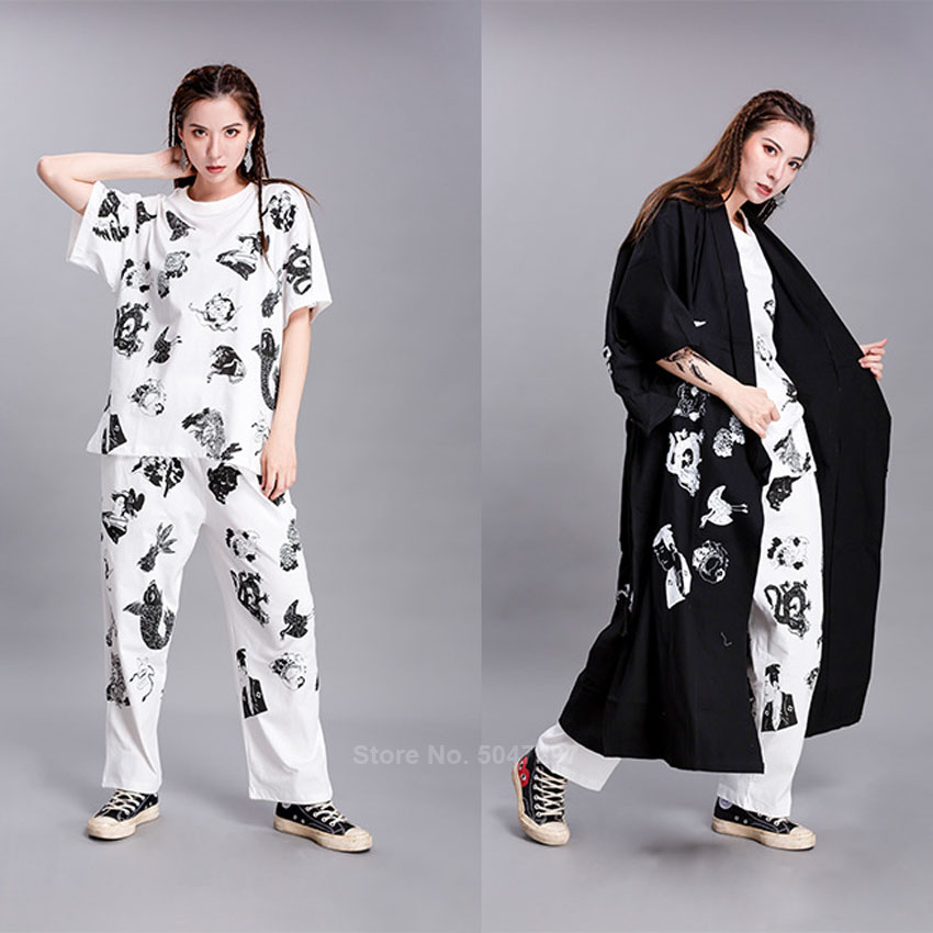 Harajuku Japanese Clothing Female Fashion Streetwear Hip Hop Haori T-shirt Pants Outfits Carp KOI Printing Coat For Couple