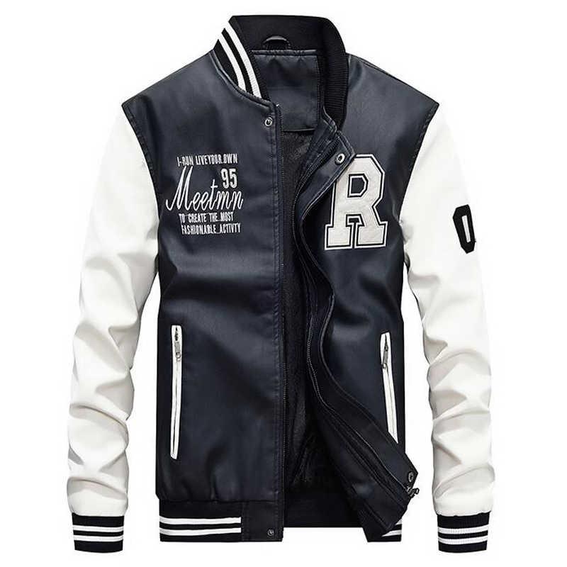 2019 新メンズジャケット男性刺繍ベースボールジャケット Pu レザーコートスリムフィットカレッジ高級フリースパイロット革ジャケット