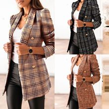 2021 Ladies Fashion New Autumn And Winter Long-sleeved Retro Office Double-breasted Suit Collar Printed Small Jacket Women