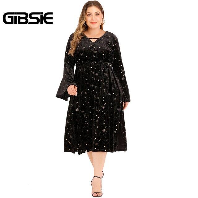 GIBSIE Autumn winter V-neck Print Velvet Dress Women Plus Size High Waist Long Sleeve Belt Midi Dresses Ladies Vintage Black 1