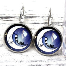 Fashion Lazy Cat Moonlight Midnight Blue Crystal Pendant Earrings Vintage Silver Bronze Glass Cabochon Earrings Woman Gift Charm коляска silver cross midnight blue sx 2125 mdeu