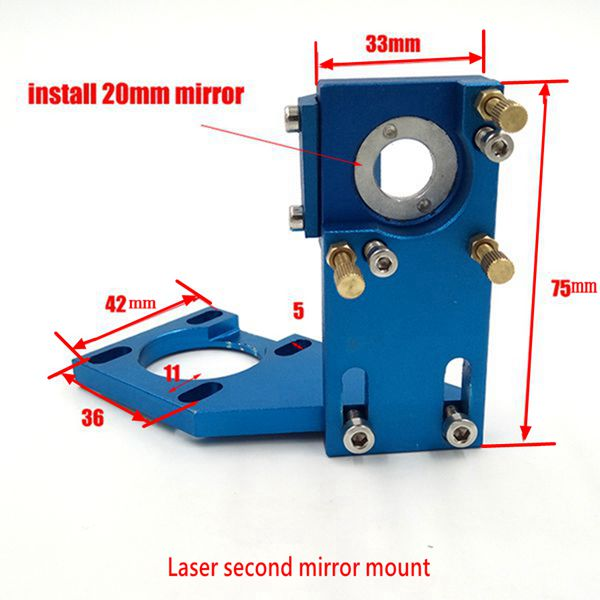 Hot Sell Co2 Laser Second Mirror Mount Reflection Mirror Dia 20mm Mount For Laser Engraving Cutting Machine