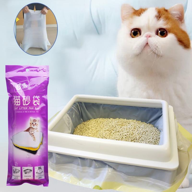 7 Pieces Cat Litter Box Liners, Larger Thickening Drawstring Cat Litter Pan Bags Durable Pet Cat Supplies