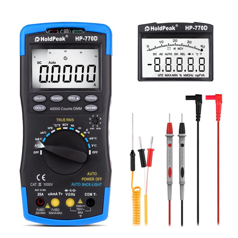 Holdpeak multímetro digital HP-770D, alta precisão, auto range true rms 40000 contagens ncv ac dc, tensão atual ohm testador