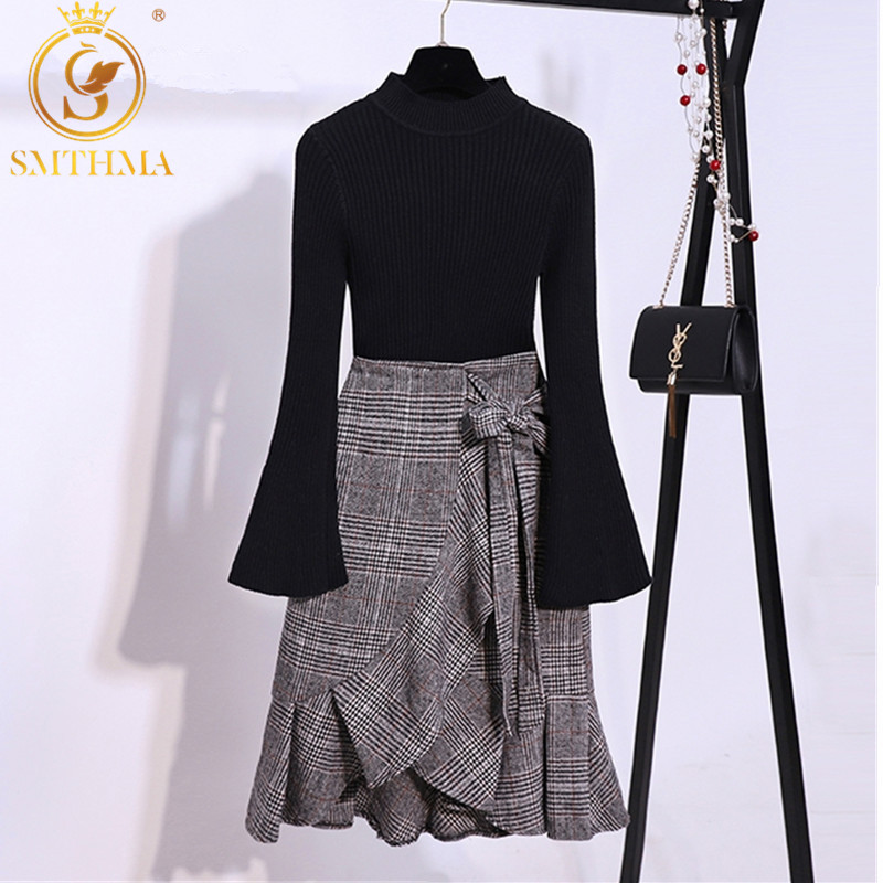 SMTHMA Newest 2019 Designer Runway Two Piece Set Women's Knitting Black Sweater +irregular Ruffle Trumpet Mermaid Skirt Set
