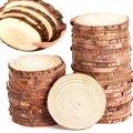 3-12cm Dicken Unfinished Kiefer Natürliche Runde Holz Scheiben Kreise Mit Baumrinde Log Discs Für DIY Handwerk hochzeit Party Malerei De